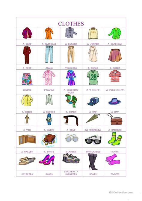 clothes pictionary worksheet  esl printable