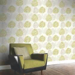 Teal Living Room Walls by Arthouse Boulevard Trees Wallpaper In Green And Cream 417904