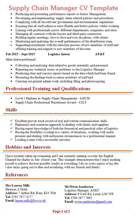 resume sles for supply chain management 28 images