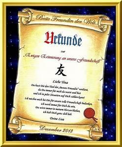 Verleihung Eines Ehrentitel Urkunde Fr Beste Freundin