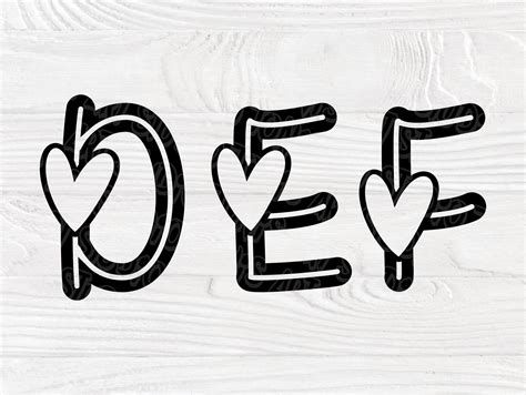 valentine font svg heart alphabet cut file love svg heart svg heart letters  numbers