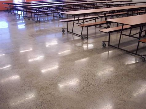 education high school floor natural gray polished concrete