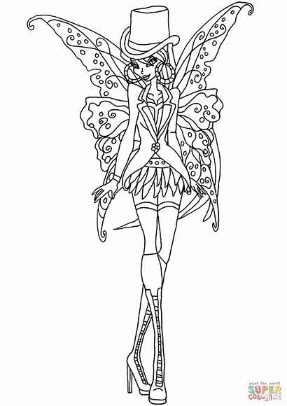 Coloring Gothic Fairies Printable Fairy Adults Dark