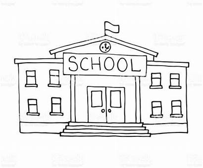 Building Schoolhouse Doodle Clip Vector Illustrations Drawing