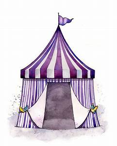 Vintage circus tent illustration PAINTING watercolor art print