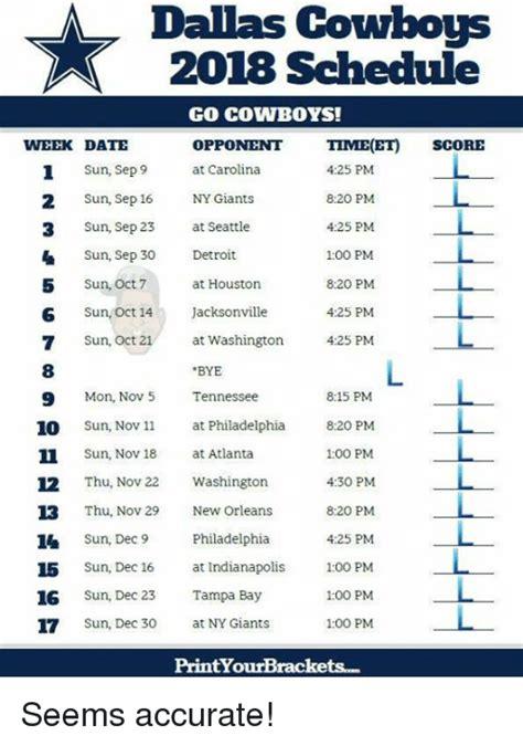 Dallas Cowboys Memes 2018 - dallas cowboys 2018 schedule go cowboys opponnt time et score at carolina week date 1 sun sep9