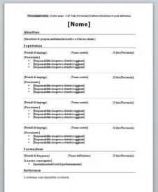 curriculum vitae cronologico da compilare download gratis