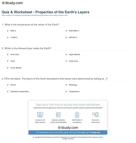 quiz worksheet properties   earths layers