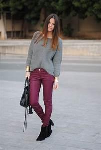 Best 25+ Plum pants ideas on Pinterest   Plum pants outfit Burgundy leggings and Purple jeans ...