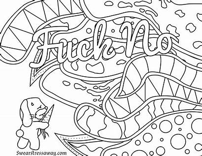 Coloring Pages Word Swear Adult Printable Curse