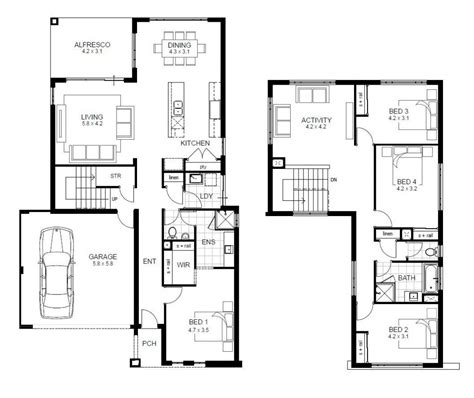 4 Bedroom 2 Story House Floor Plans Unique Two Story 4