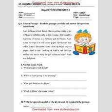 Unseen Passage Class 2 Subject English  Google Search  Cbse  Reading Comprehension Worksheets