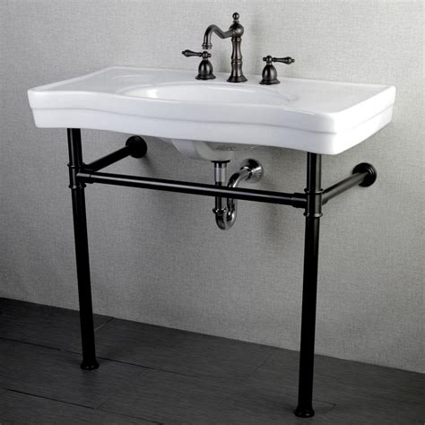 pedestal sink with metal legs kingston brass console table combo in white with metal