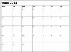 June 2055 Month Calendar