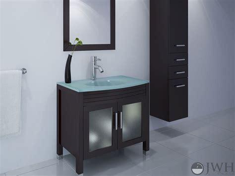 jwh living  ludwig single bath vanity glass top