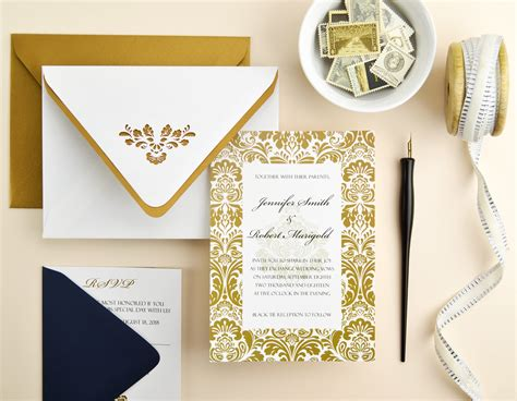 elegant navy gold damask wedding invitation cards