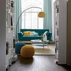 canape vintage 3 et 4 places tasie la redoute interieurs With tapis jaune avec canapé bleu canard 2 places