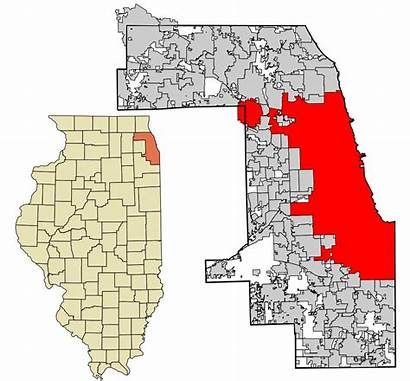 Cook County Illinois Chicago Areas Map Highlighted