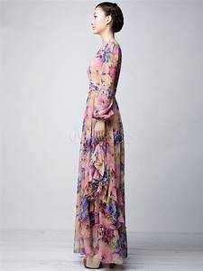 pink floral printed chiffon maxi dress milanoocom With robe lainage manches longues