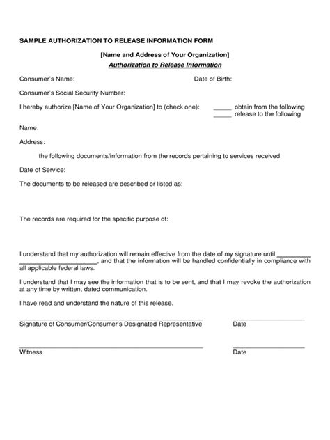authorization to release information release of information form 5 free templates in pdf word excel