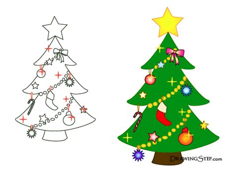 cartoon christmas tree drawings
