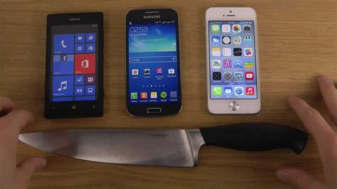 nokia lumia   samsung galaxy  mini  iphone  ios  knife screen test youtube