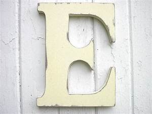 wooden letters initial e 12 inch antique white kids wall decor With wooden letter e