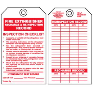 Web's leading source for fire extinguisher tags offers an extensive library of fire extinguisher inspection tags to find just the right design and material. Fire extinguisher inspection tags - HSEWatch