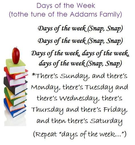 days of the week song to the family tune 192 | 3fb40d58d2f79a0f83470fc2b4803535