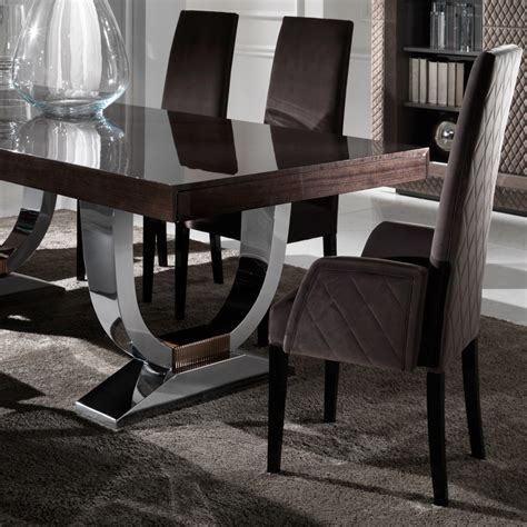large modern italian veneered extendable dining table set