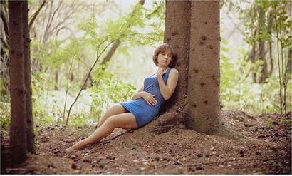 Barefoot Feet Legs Young Forest Nature Julia