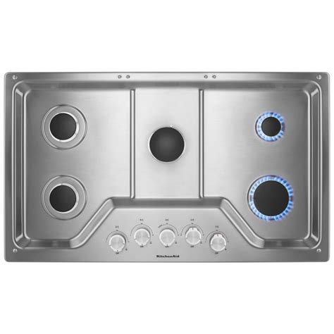 kitchenaid   gas cooktop  stainless steel