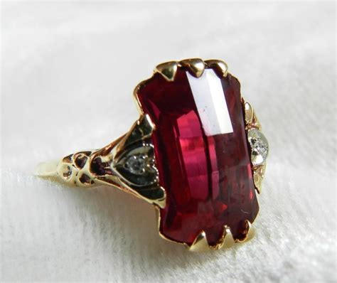 deco ring ruby ring 1920s lab grown ruby antique ruby fancy checkerboard cut engagement ring