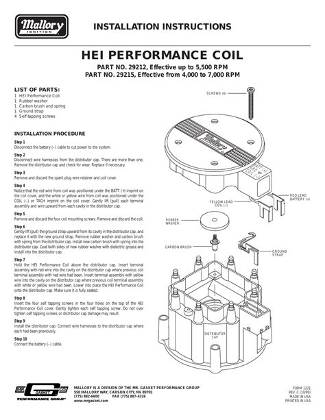 mallory ignition mallory hei performance coil 29212 29215 user manual 3 pages