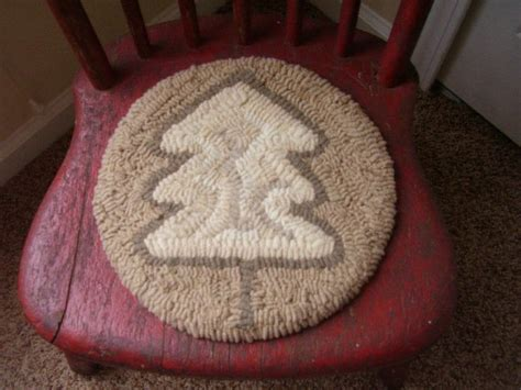 primitive hooked chair pad table rug winter by