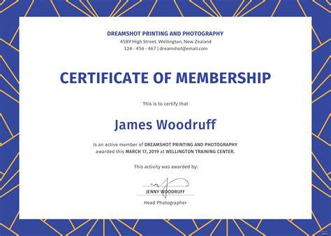 membership certificate template  psd ms word
