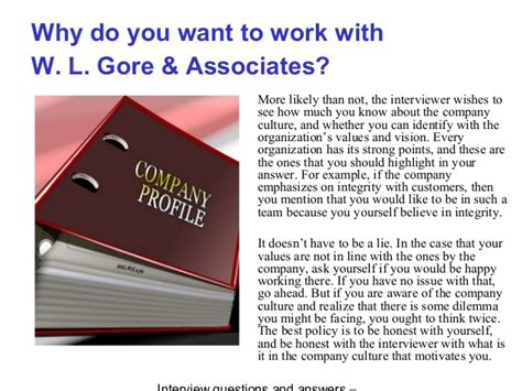 W. l. gore & associates interview questions and answers
