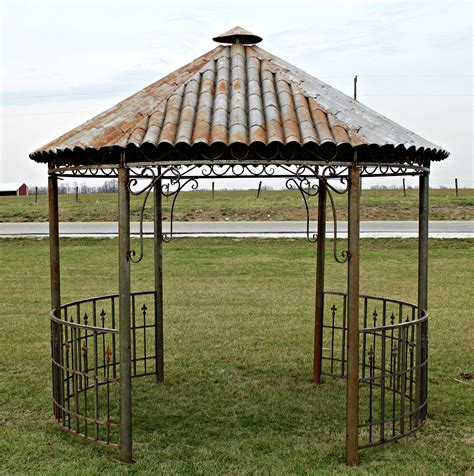 iron tiki hut gazebo metal hardtop roof gazebo