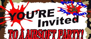 airsoft games birthday party invitations  fort worth