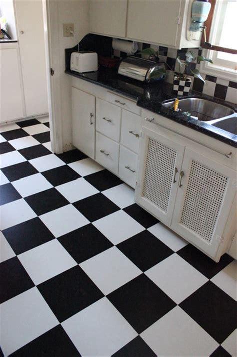 black white cork flooring  kitchen traditional