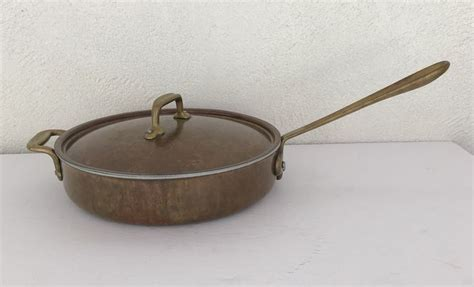 vintage  clad copper skillet   chef brand brass handles stainless steel lined chefs