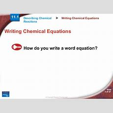 Chapter11 Section01 Describing Chemical Reactions By Hamdy Karim