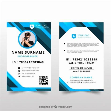 id card design template lovely id card template  flat