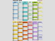 Kalender 2019 zum Ausdrucken in Excel 16 Vorlagen