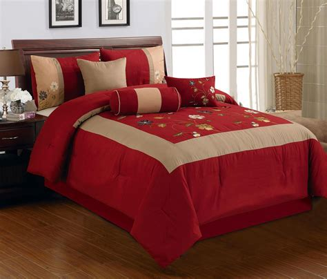 Red And Brown Comforter Sets : Contemporary Bedroom with
