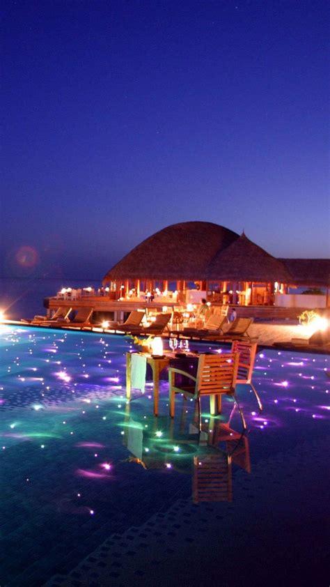 maldives tropical resort evening iphone  wallpaper