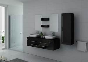 Meuble Double Vasque Noir : meuble sous vasque noir laqu dis748n meuble sous vasque noir laqu suspendu ~ Teatrodelosmanantiales.com Idées de Décoration