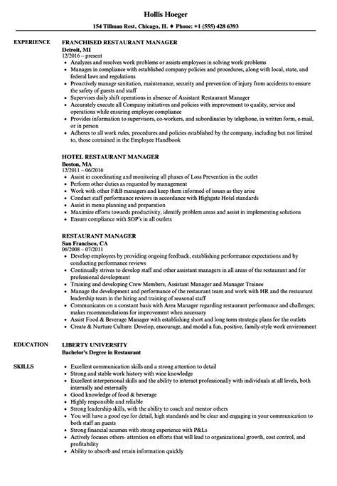 Restaurant Manager Resume by Restaurant Manager Resume Sles Velvet