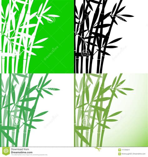 bamboo bambus set background stock vector illustration