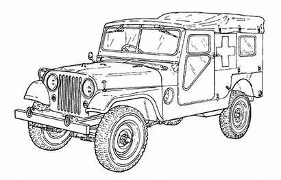 Coloring Army Ambulance Cars Vehicle Jeep M170